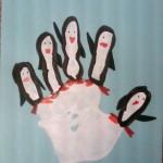 Handprint penguin family