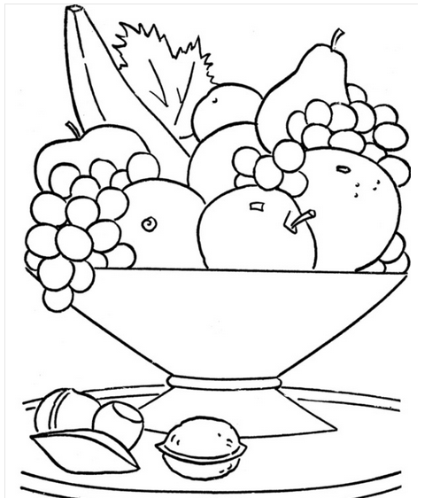 Fruit In The Basket Coloring Crafts And Worksheets For Preschool