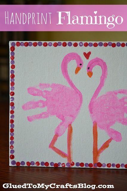 handprint flamingo craft
