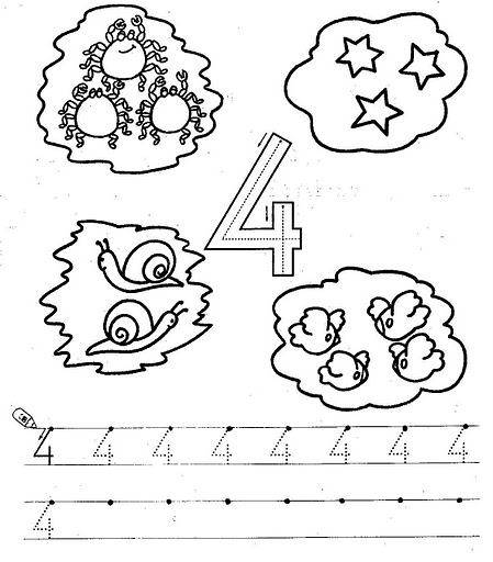 number four 4 coloring and tracing worksheets  (11)