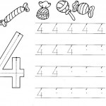 number four 4 coloring and tracing worksheets  (20)