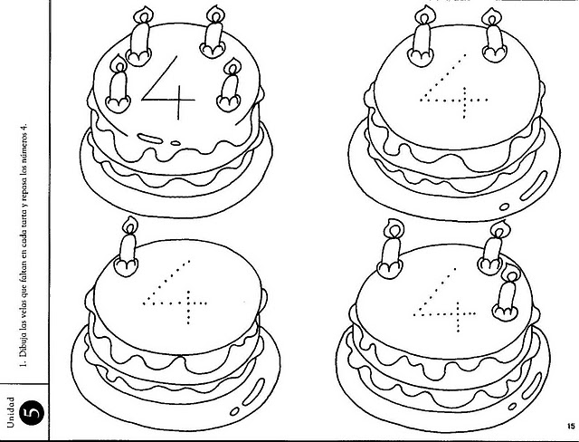 number four 4 coloring and tracing worksheets  (21)