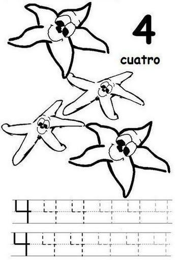 number four 4 coloring and tracing worksheets  (6)