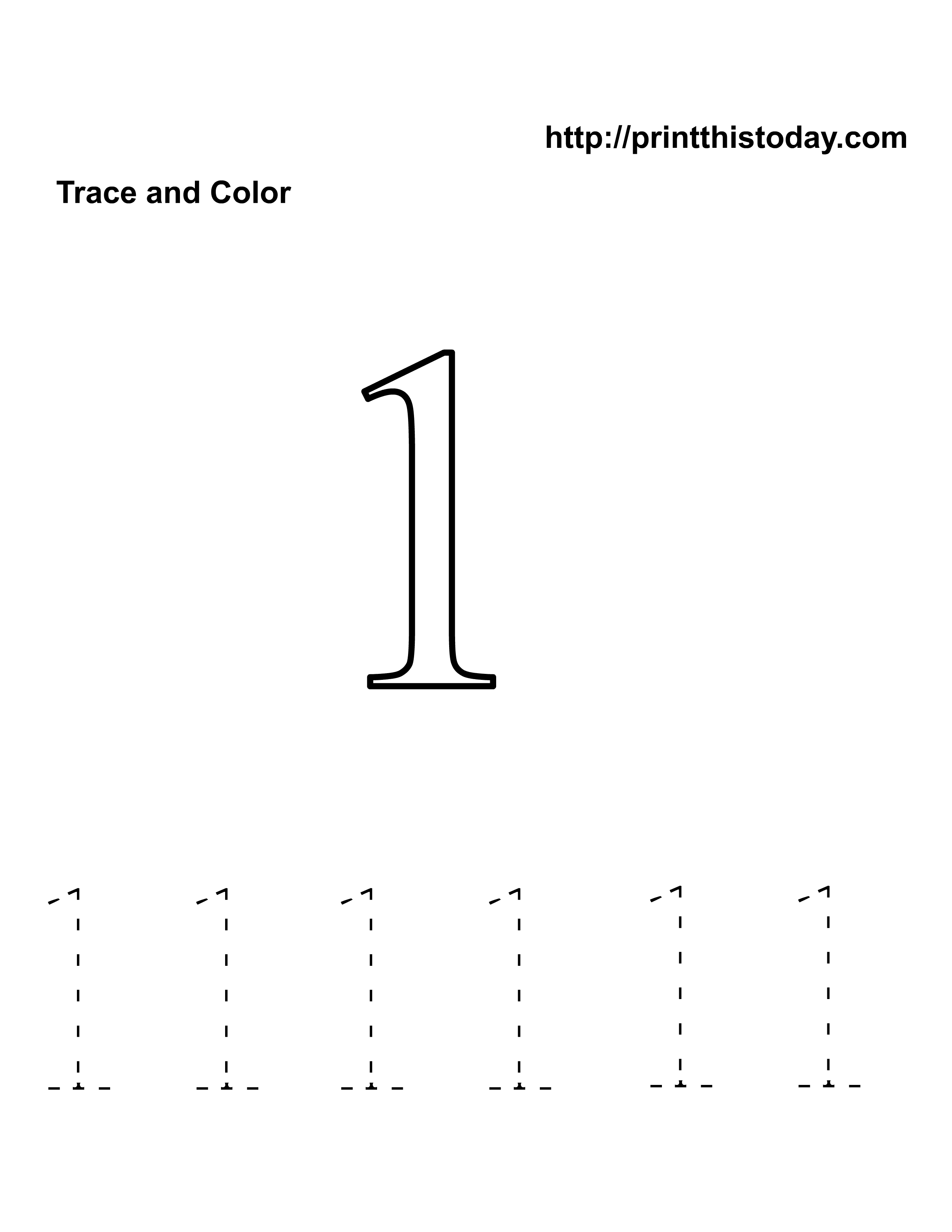 number one tracing and coloring worksheets (3)