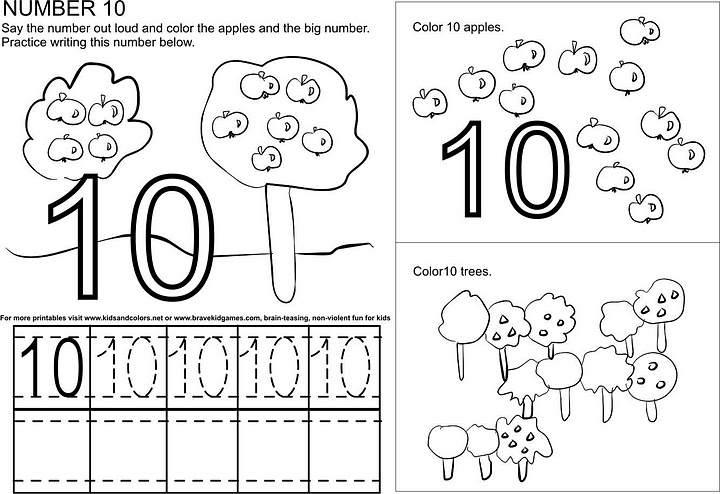 Number 10 ( ten ) tracing and coloring worksheets   Crafts ...