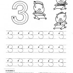 number three coloring and tracing worksheets (11)