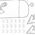 number three coloring and tracing worksheets (13)