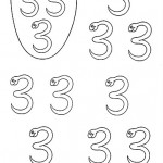 number three coloring and tracing worksheets (25)