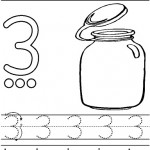 number three coloring and tracing worksheets (44)
