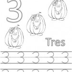 number three coloring and tracing worksheets (6)