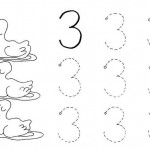 number three coloring and tracing worksheets (8)