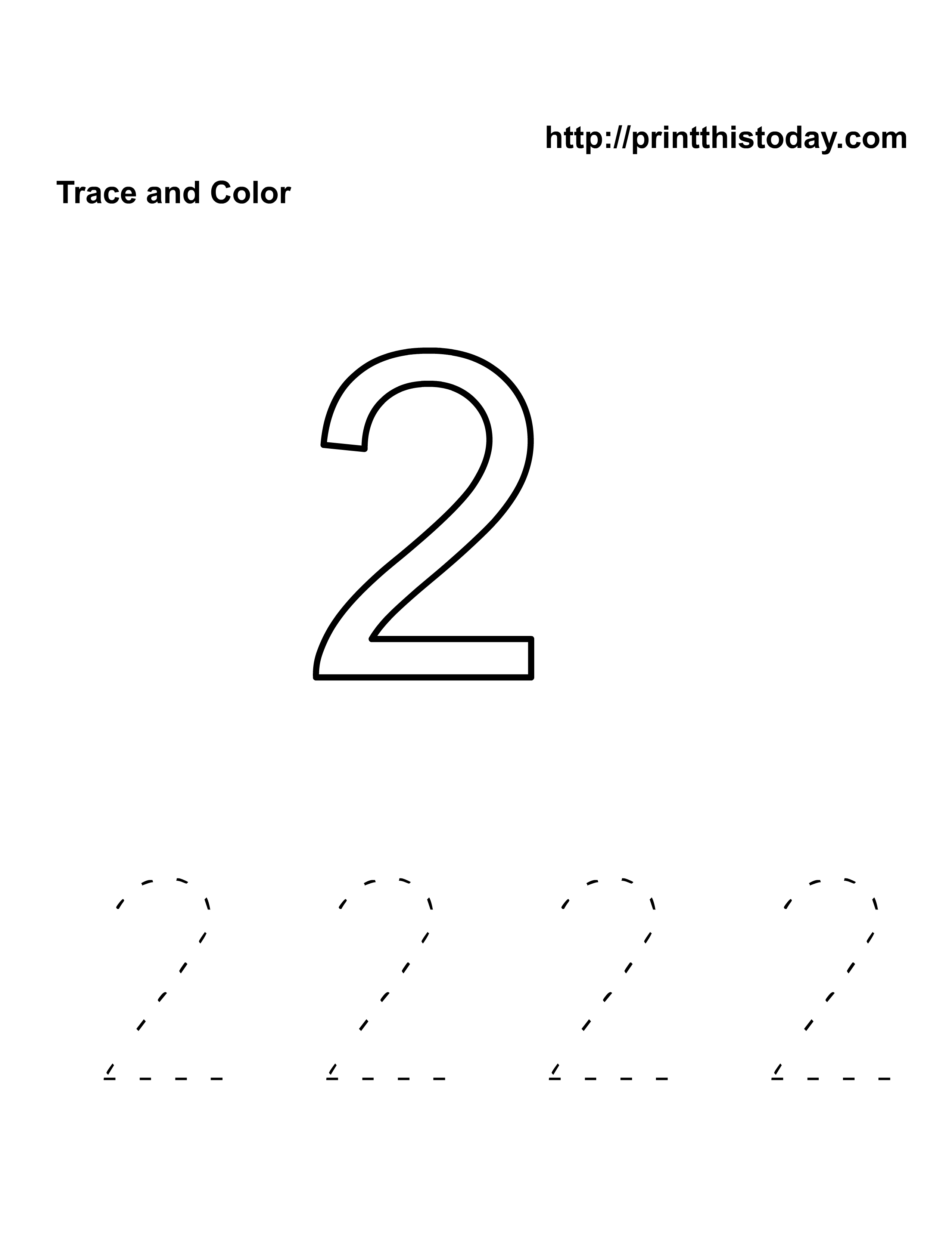 number two tracing and coloring worksheets  (2)
