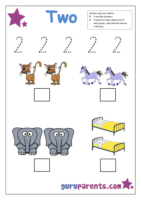 number two tracing and coloring worksheets  (3)