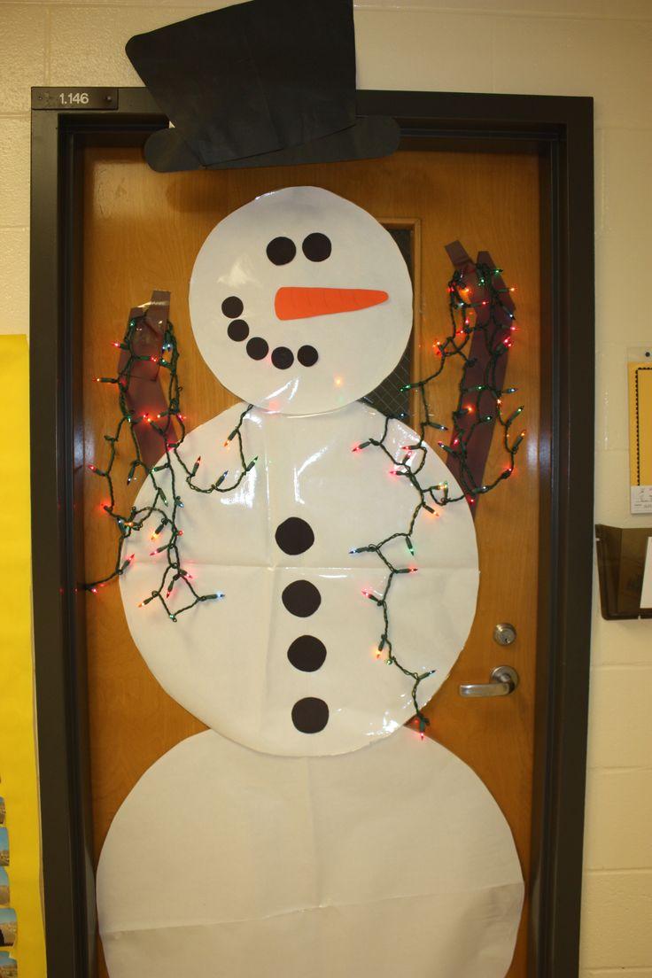 snowman door with lights