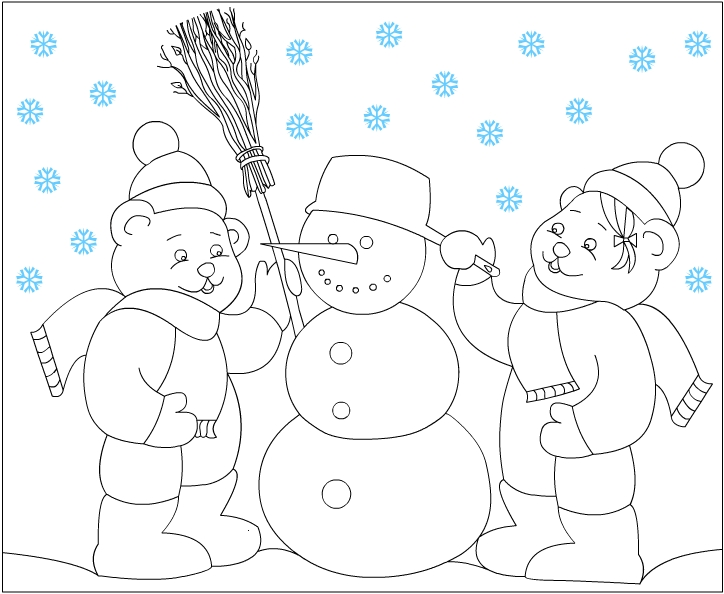 Winter Season Coloring Page For Kids 2 Crafts And Worksheets