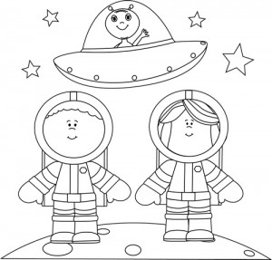 Black and White Astronauts on Moon with UFO