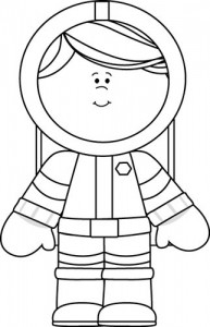 Black and White Girl Astronaut coloring page