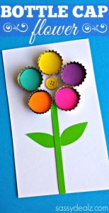 Bottle Cap Flower Craft for Kids
