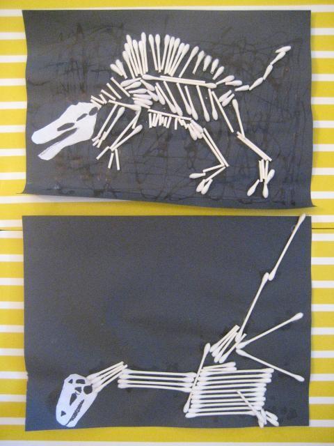 Dinosaur bones craft made with Q-tips
