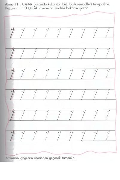 Number 1 Tracing Worksheets For Kindergarten