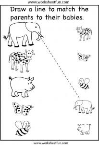Preschool matching worksheet