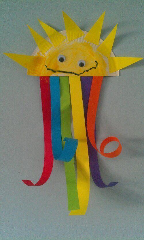 Rainbow & sunshine paper plate craft