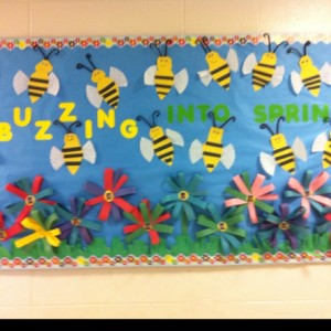 Spring Bulletin Board with Bees