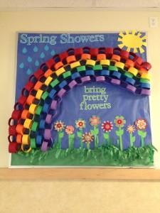 Spring bulletin board with rainbow
