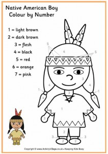 color by numbers indians worksheet (3)