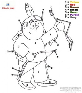 color by numbers indians worksheet (4)