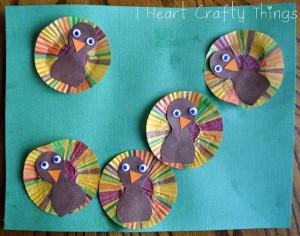 cupcak liner turkey craft