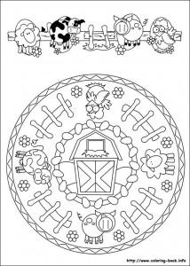 farm  mandala coloring page