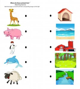 free printable matching animals to their home worksheet (2)