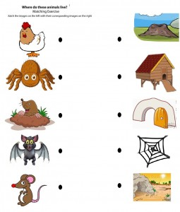 free printable matching animals to their home worksheet (3)