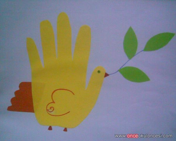 handprint dove craft for kids