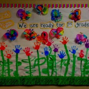 kindergarten bulletin board. Hand print flowers
