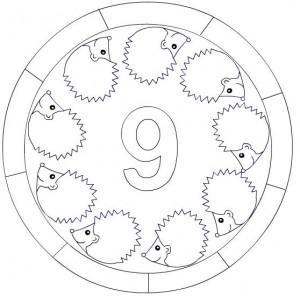 number 9 mandala coloring
