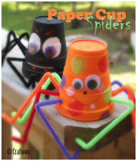 paper cup spider craft