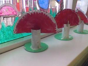 paper plate mushroom craft