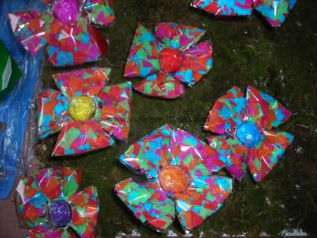 plastic bag flower craft