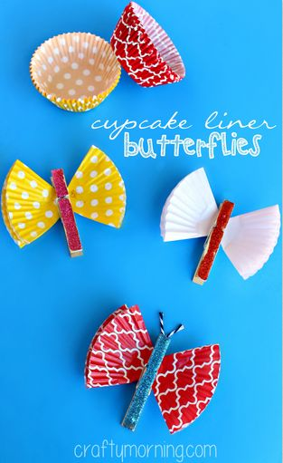 Cupcake Liner Butterfly Clothespins Craft