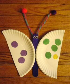 Paper plate butterfly craft idea