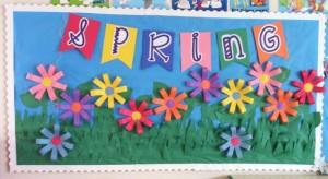 Spring, flower bulletin board