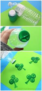 Water Bottle Shamrock Stamp Craft for Kids