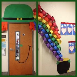 classroom door for St Patrick's Day