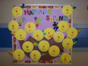 easter chick bulletin board