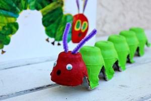 egg carton caterpillar craft