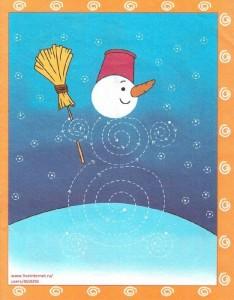 free snowman trace worksheet