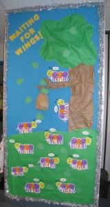 handprint caterpillar bulletin board