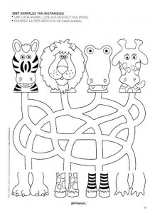 jungle animal  trace worksheet